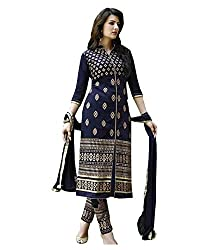 RockChin Fashions Blue Embroidered Dress Material