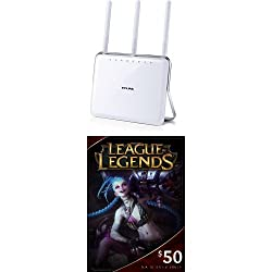 TP-LINK AC1900 Dual Band Wireless AC Gigabit Router and League of Legends $50 Gift Card - 7200 Riot Points - NA Server Only [Online Game Code]