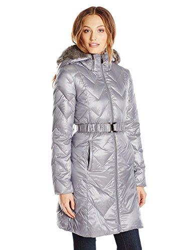 T Tahari Womens Marta Quilted Faux Fur Trim Puffer Coat Gray S