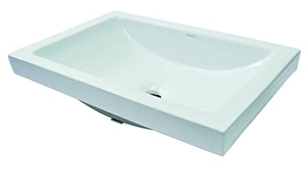 Decolav 14107-CWH Matt Muenster Exclusive Collection Semi Recessed Rectangular Lavatory Sink with Overflow, White