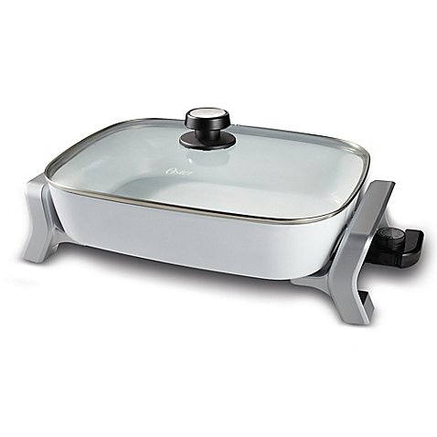 Oster 16-Inch x 12-Inch Hand Wash Electric Skillet in White/Silver Hand Wash (Tfal 12inch Frypans compare prices)