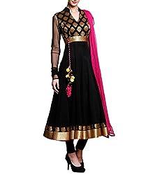 Metroz Black Georgette Embroidered Anarkali Salwar Kameez with Dupatta
