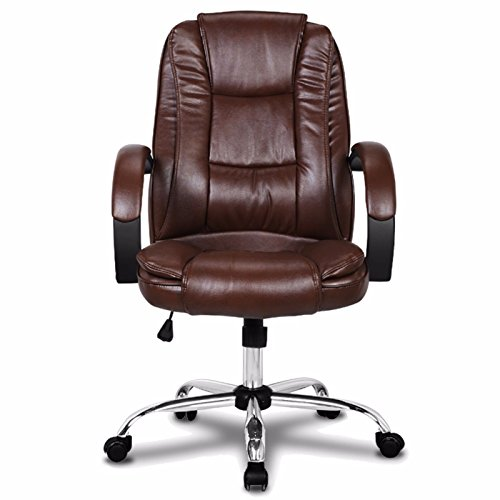 Brown Executive High Back PU Leather Computer Desk Office Task Arm Chair Swivel