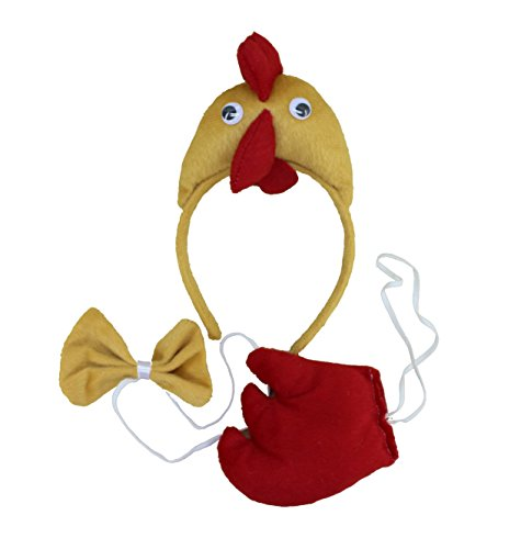 Cute Hen Animal Ear Headband Christmas Party Costume Cartoon 3pc Set