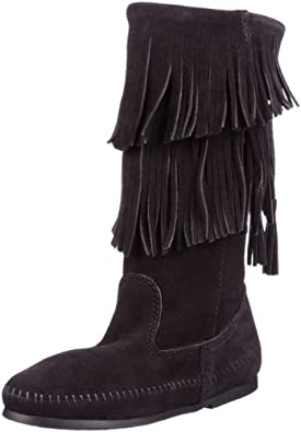 (暴跌)迷你唐卡 Minnetonka Women's Angled Fringe 经典流苏软皮女靴 2色 $75.15