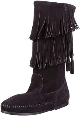Minnetonka Women's Calf Hi 2-Layer Fringe Boot,Black,5 M US