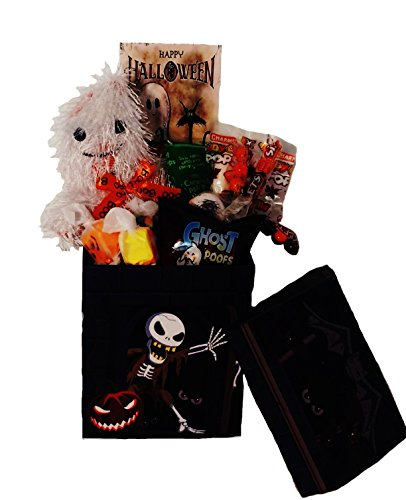 'Ghostly Greetings, Have a Bootiful Halloween' Candy Gift Basket with Plush Ghost Toy (Halloween Candy Baskets)