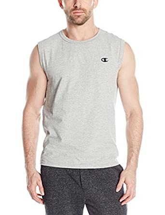 Champion Men's Jersey Muscle Tee, Oxford Gray, Small