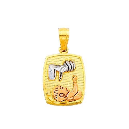 14K Tri-color Gold Religious charm Pendant