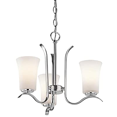 Kichler Lighting 43073CH Armida 3-Light Mini-Chandelier with Satin Etched White Glass, Chrome Finish