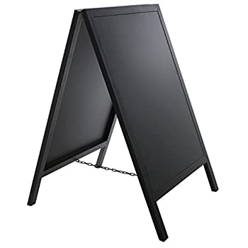 Stand Alone Black Metal A Frame Erasable Chalkboard Sign / Sidewalk Commercial Write On Sandwich Board