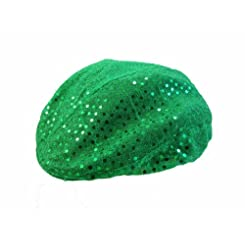 Womens Flat Cap in Green with Sequins