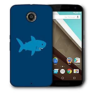 Snoogg Blue Shark Designer Protective Phone Back Case Cover For Motorola Nexus 6