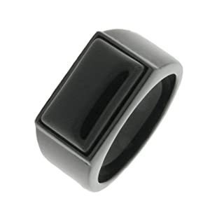Men's Stainless Steel Black Onyx Black Ion-Plated Ring, Size 9