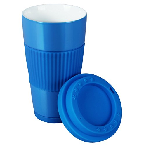 Yilove BPA-free Ceramic Travel Coffee Mug with Silicone Lid,17 oz-Blue
