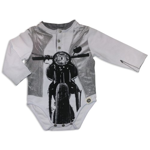 Mini Shatsu Old School Chopper Henley Bodysuit-12M-Grey front-870690