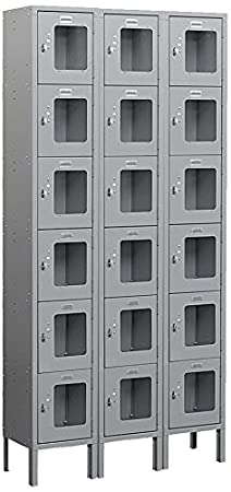 Salsbury Industries S-66362GY-U Six Tier Box Style 3-Inch Wide 6-Feet High 12-Inch Deep Unassembled See Through Metal Locker, Gray