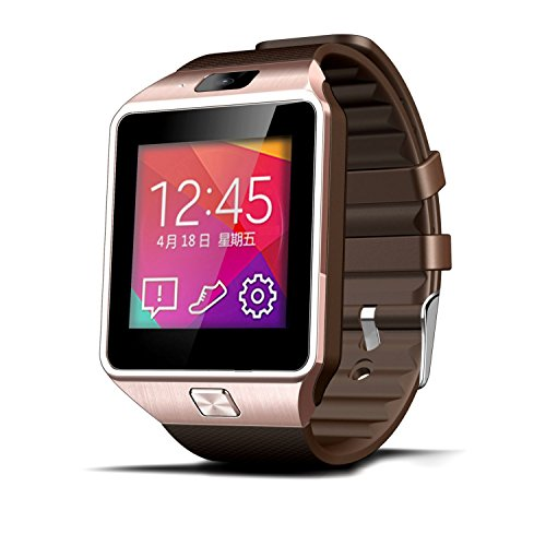 Lincass Smartwatch Fitness Tracker Bluetooth Smart Watch Wristwatch Smartwatch with Pedometer Anti-lost Camera for Iphone Samsung Huawei Android Phones (Brown)