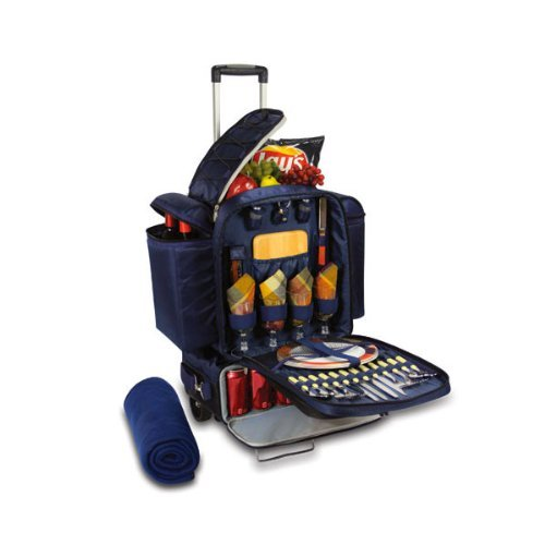 Picnic Time Excursion Rolling Picnic Tote: Navy Blue (Picnic Time Rolling Cooler compare prices)