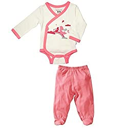 Babysoy O Soy Kimono Bodysuit and Footie Pants Set in Magpie (3-6M)