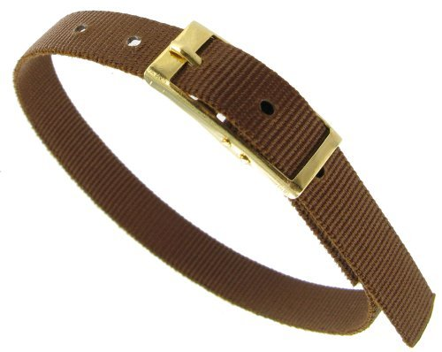 8mm Milano Slide Through Sports Wrap Nylon Textile Solid Brown Watch Band Strap