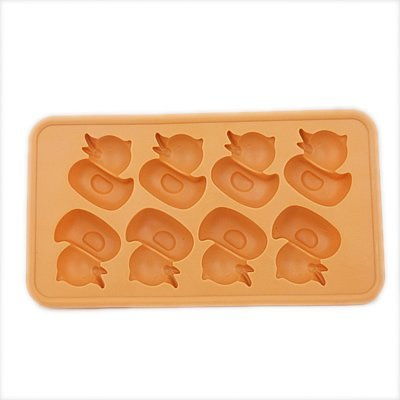 DGI MART Party Supplies 8-cavity Small Cute Ducks Shaped Ice Cake Chocolate Sugar Silicone Mini Cube Craft Fondant Mold Tray(Send by Random Colour)