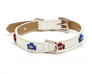 Enamel Skull America Straight Dog Collar, Extra Small Size 8, White Patent with Red and Blue Crystal Skulls