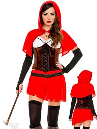 Music Legs Riding Hood Britney Waters Costume, Red