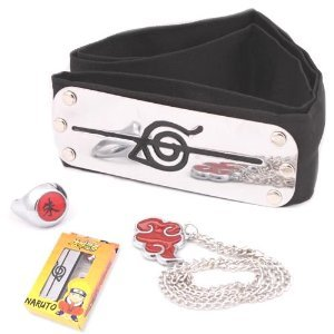 Naruto - Itachi Uchiha Headband + Ring + Necklace Set Akatsuki Cosplay Costume