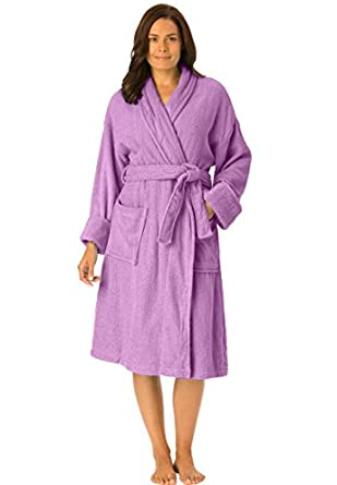 Dreams And Company Women's Plus Size Short Terry Robe With Free Matching