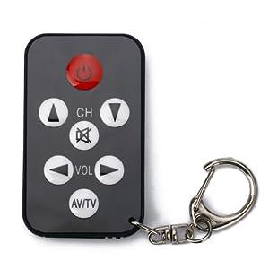 Micro Spy Remote Mini Black 7 Buttons Universal TV Remote Control and Keychain