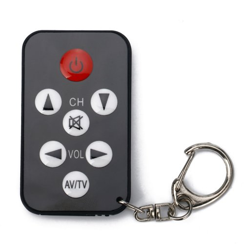 Micro Spy Remote Mini Black 7 Buttons Universal TV Remote Control and Keychain
