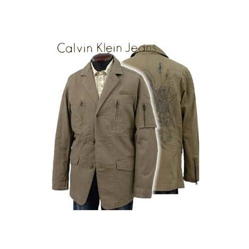CALVIN KLEIN(カルバンクライン)ミリタリ- ジャケット バック刺繍 MF38J19(並行輸入品) (L)
