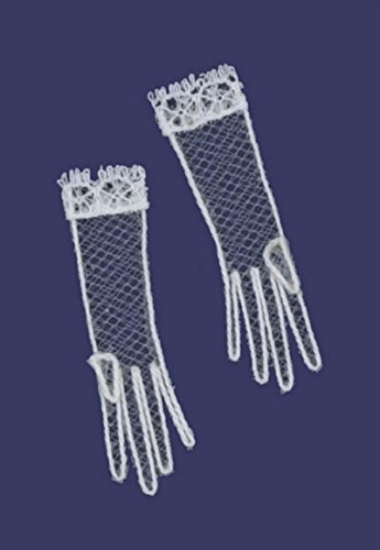 Dollhouse Miniature Pair of Sheer Net White Ladies Gloves by Falcon Miniatures - 1