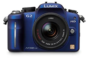 Panasonic Lumix DMC-G2 12.1 MP Live MOS Interchangeable Lens Camera with 3-Inch Touch Screen LCD and 14-42mm Lumix G VARIO f/3.5-5.6 MEGA OIS Lens (Blue)