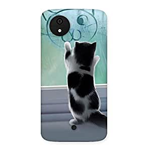Impressive Cute Kitty Face Print Back Case Cover for Micromax Canvas A1
