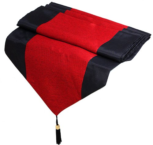 Artiwa Red & Black Silk Decorative Table Runner 14X64 Inch - Gift For Christmas Recommend