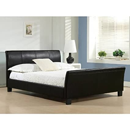 Time Living Winchester 5ft King Size Black Faux Leather Bed Bed Frame Only
