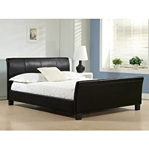 Time Living 4ft6 Double Bed Black Faux Leather - Winchester Bed Frame Only