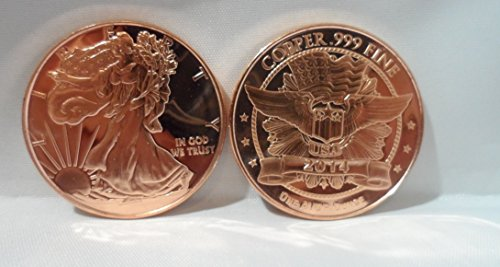 1 OZ. Walking Liberty Round .999 Fine Copper Bullion Art Bar