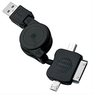 Black 3 in 1 Multi-function Lightweight and Retractable USB Charger Sync Cable for iPhone Tablte PC