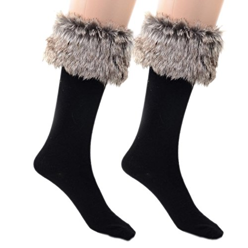 Zeagoo® Womens Faux fur Snow Socks Leg Warmer Stocking Fur Cover Cuff Boots Shoes