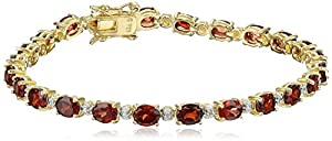 """18k Yellow Gold-Plated Sterling Silver Garnet and Diamond Bracelet, 7.25"""""""