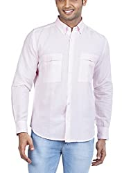 Zovi Men's Cotton Linen Casual Shirt (1060670570140_40_Pink)