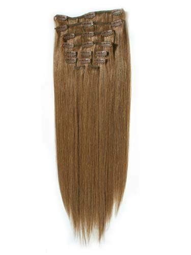 14 inch LIGHT BROWN(Col 8). Full Head Clip in Human Hair Extensions. High quality Remy Hair!. 100g Weight