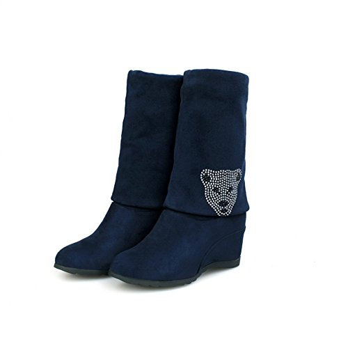Voguezone009 Womens Closed Round Toe Mid Heel Frosted Pu Solid Boots With Glass Diamond, Blue, 39