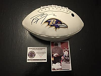 Ray Lewis Autographed Signed Ravens Logo Football Witness COA & Hologram W/Photo From Signing