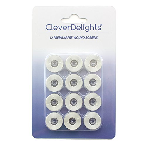 12 Pack - CleverDelights White Prewound Bobbins - 60wt - Size A Class 15 Bobbins - SA156 Replacement - For Brother Embroidery Machines - 7/16