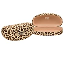 DG Eyewear Brown Leopard Print Clamshell Sunglasses Hard Case