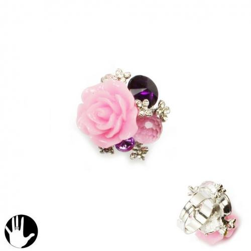 Sg Paris Fashion Jewellery Ring Adjustable Woman Metal+Other Material Pink Flower